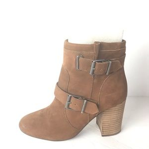 Vince Camuto boots brown suede stacked heel 8.5